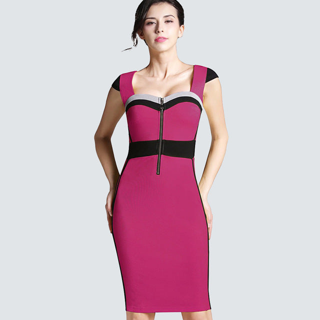 74f9e459808e0 Casual Summer Work Office Business Tunic Front Zipper Elegant Sheath Fitted  Bodycon Pencil Dress HB272