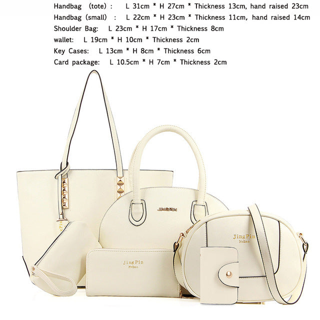 Women Pu Leather Bags Sets 5,6 pcs - Owame