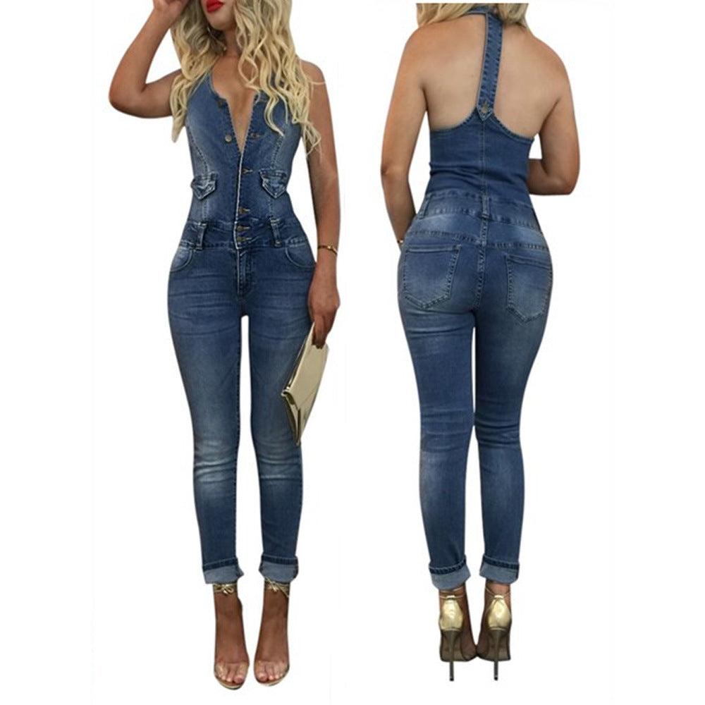 Fashion Casual Women Denim Jumpsuit Sleeveless Buttons Slim Long Jumpsuits Overalls Party Rompers Jeans Femme SN