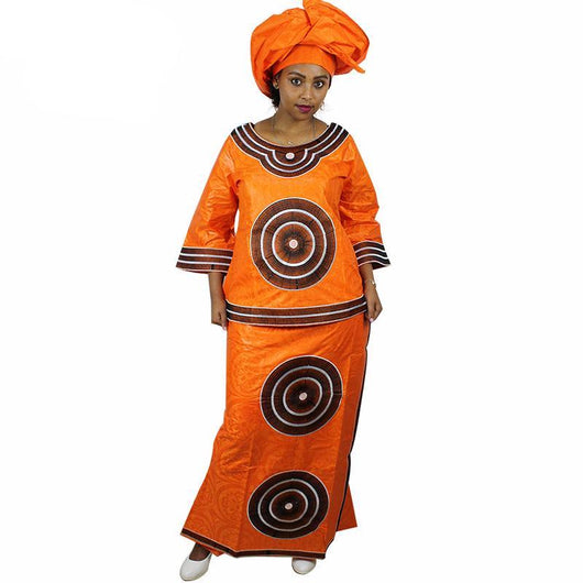 African Brocade Fabric Blouse and Wrapped Wrapper Skirt Dress - Owame