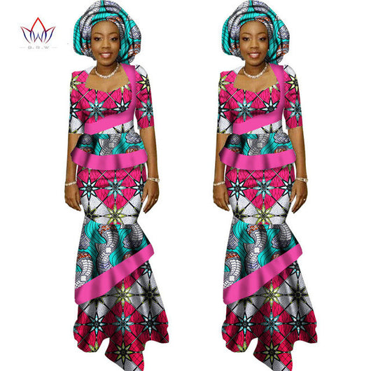 Traditional Bohemian African Bazin Print Skirt Sleeve Crop Tops - Owame