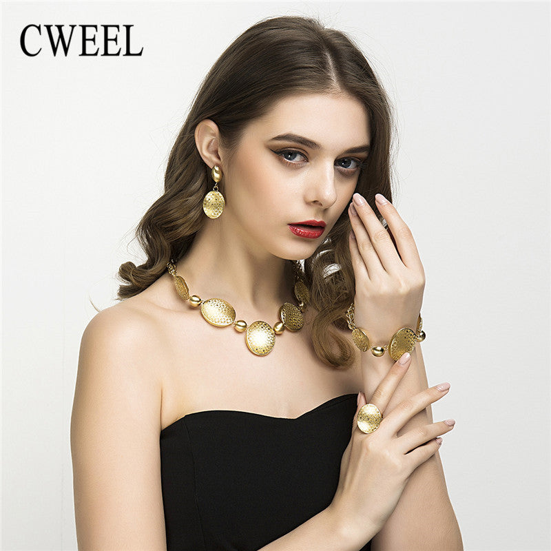 CWEEL Big Choker Necklace Women Party Fashion Wedding Gold Color Leaf Bridal Round African Jewelry Sets Ring Earrings Bracelet