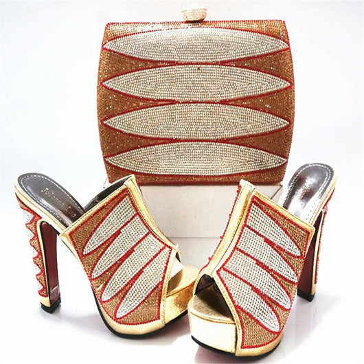 Quality Italian matching Wedges High heels shoe and bag set - Owame