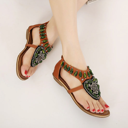 Bohemia Sandals with String Bead Women Shoes - Owame
