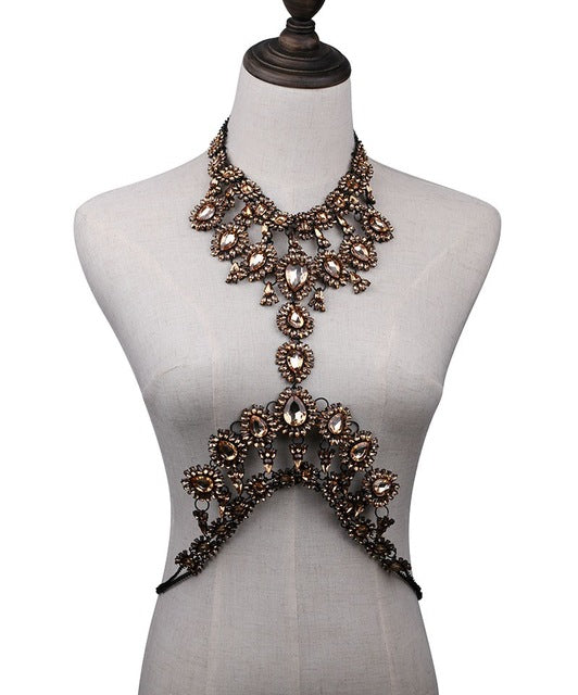 Sexy Fashion Trendy Vintage Body chain Crystal Jewelry Necklaces,Crystal Drop Body Chain - Owame