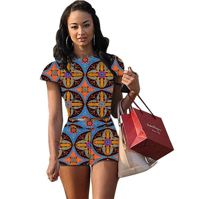 African print women backless tops and shorts sets - Owame