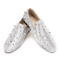 Handcrafted Luxury Gold or Silver Spikes and Diamonds Men's Glitter Leather Loafers Suitable for Banquet and Wedding