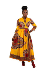 African Dress for women,African Prints, African fashion styles, African clothing,Long Sleeve Dashiki dress - Owame