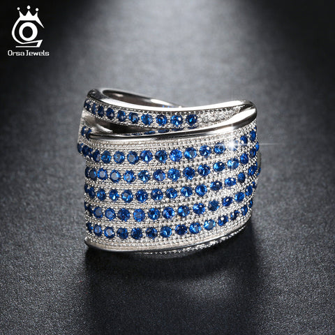 ORSA JEWELS Luxury Fashion Eco-Friendly Bridal Ring for Women Rings with Blue Micro Austrian Cubic Zirconia Wedding Jewelry OR91