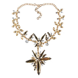Best lady Chunky Gem Crystal Flower Statement Unique Starburst Pendant Rhinestone Luxury Instagram Maxi Choker Necklace 3491