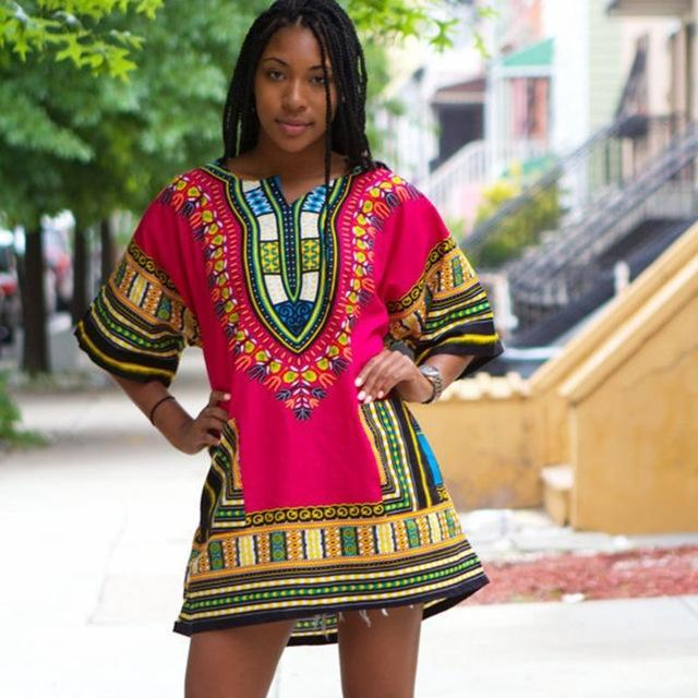 2016 African Dresses For Women Dashiki Men African Clothes Hippie Shirt Caftan Vintage Unisex Tribal Mexican Top Bazin Riche