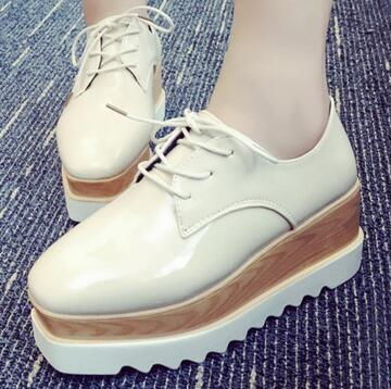 woman creepers patent leather women's Brogue shoes, warm flats lace up platform creepers shoes 0w77