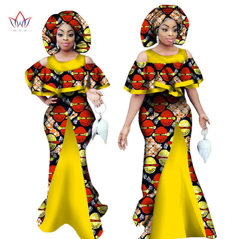 African Bazin Ankara Sleeveless Mermaid Dresses - Owame