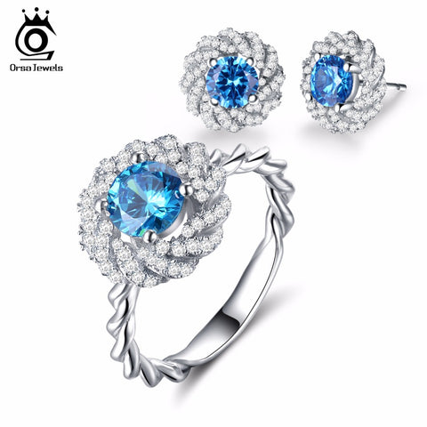ORSA JEWELS Fashion Silver Color Flower Earrings Ring Jewelry Sets with 1.2ct Charm Ocean Blue Cubic Zirconia for Women OS113