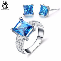 ORSA JEWELS Luxury Fashion Women Jewels Set 2ct Big Square Ocean Blue Austrian Cubic Zirconia Ring Earrings Jewelry Sets OS115
