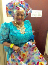 High quality African headtie,Head Gear,Sego Gele & Ipele,Multi Color Sego,2pcs/set-0WX45F