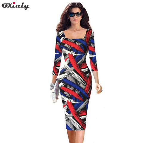 dceb4a6b6f30f Oxiuly Plus Size 4XL 5XL Womens Elegant Vintage Rockabilly Colored Stripe  Print Slim Pinup Casual Party Pencil Fitted Dress