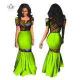 BRW African Dresses Summer Women Mermaid Dress Long Dress Maxi Dress Bazin Riche African Print Clothing Plus Size 6XL WY1177