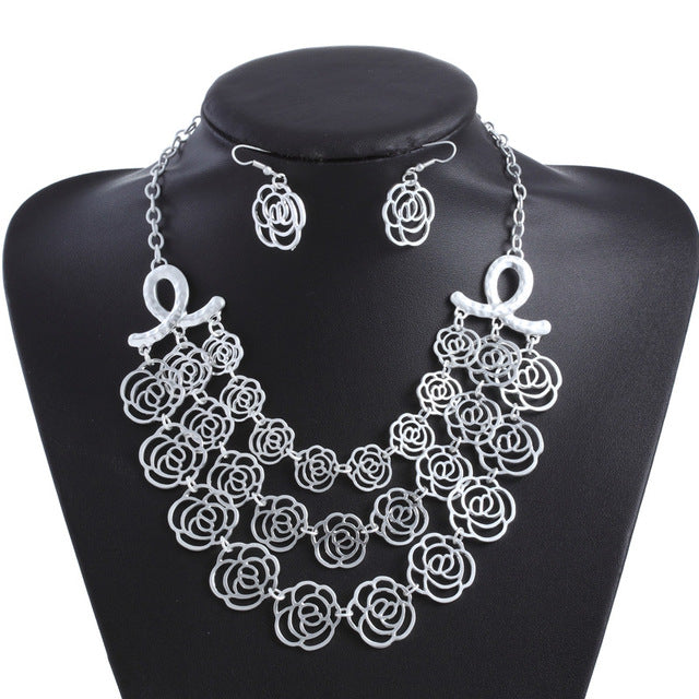 Carved Flower Jewelry Statement Chunky Alloy Necklaces Pendants Vintage 2017 Jewelry Set Women's Multi Layer Necklace Sets Ear