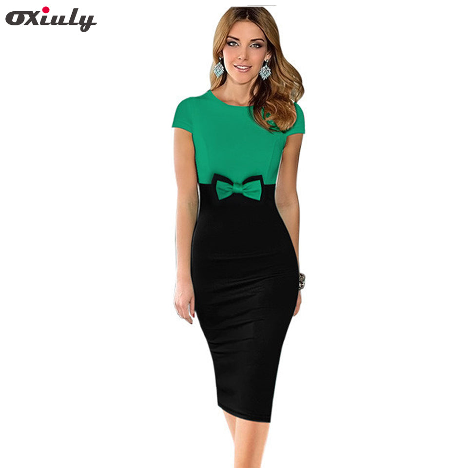 7db6a02bb6644 Oxiuly Womens Elegant Bowknot Patchwork Short Sleeve High Waist O-Neck Knee  Casual Work Party Sheath Bodycon Pencil Office Dress