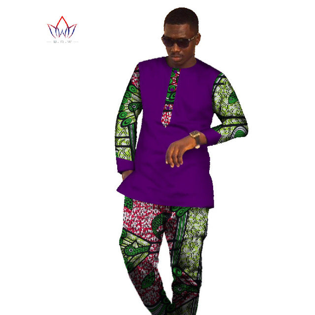 African American Mens Dashiki African Print Shirt Long Sleeve Tops & Long Pants Plus Size Mens