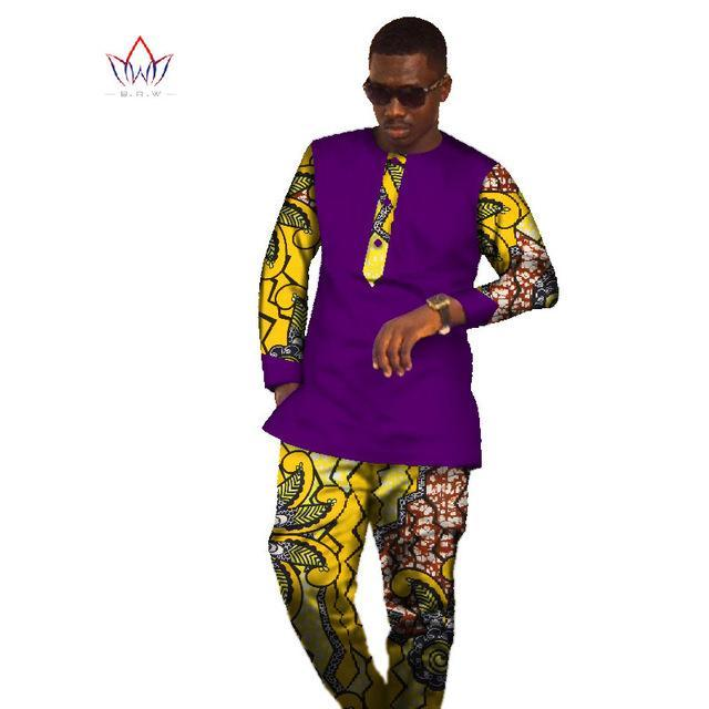 2017 New Sets Brand Clothing Mens Shirt Long Sleeve Dashiki African Print Mens Tops & Long Pants Plus Size Mens Clothes WYN305