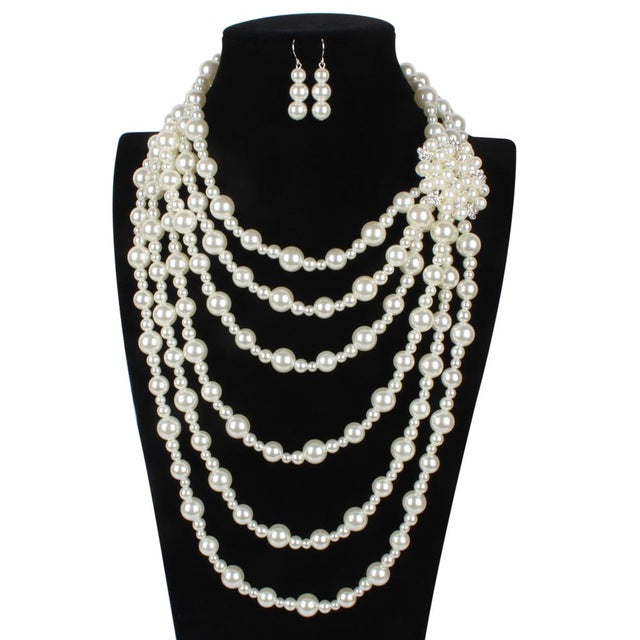 Vintage Multi Layer Exaggerated Necklace Earrings Flower Bridal Jewelry Sets Pearl and Crystal Jewelry Set for Women Duftgold