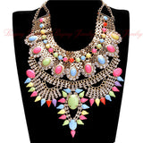 African Chic Antique Metal Rhinestones Retro Collar Statement Necklaces Women Short Vintage Necklaces Indian Jewelry -OWAME78
