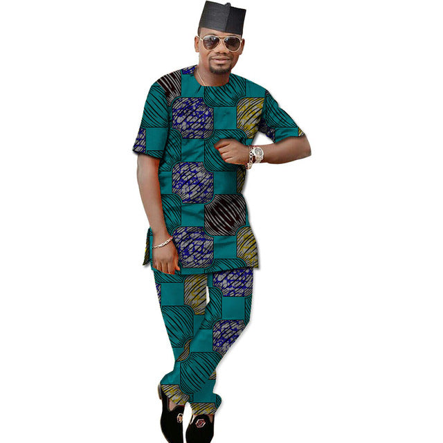 Private Custom Africa Menswear,Men African print Clothing Short sleeve tops and pant set - Owame