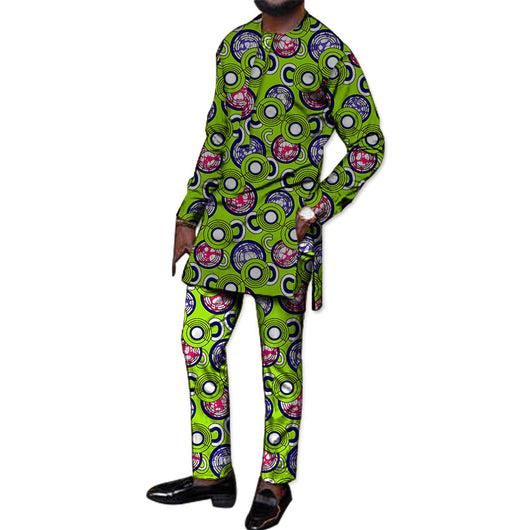 Tailor made african, Print Men t-Shirt+Pant Sets Customized African Clothes Male Dashiki long Sleeve Tops And Long Trousers