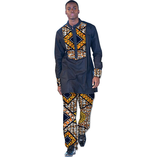 Customized African Print Clothing Men Tops and Trousers Set, African menswear,African Shirts And Pants Sets, Africa Men Fashion  Style - Owame