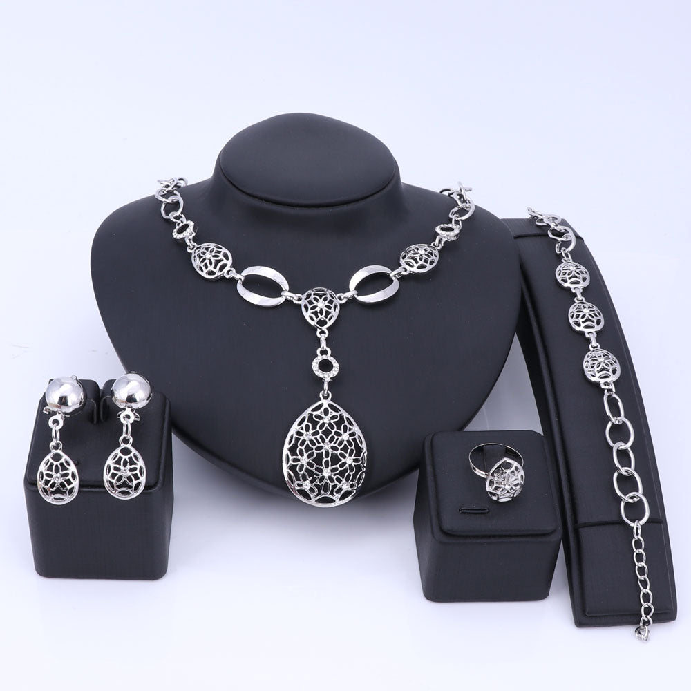 African Indian Jewelry Set Hollowed Jewelry Sets Silver Color Necklace Earrings Bracelet Ring Set For Women Costume Accessories