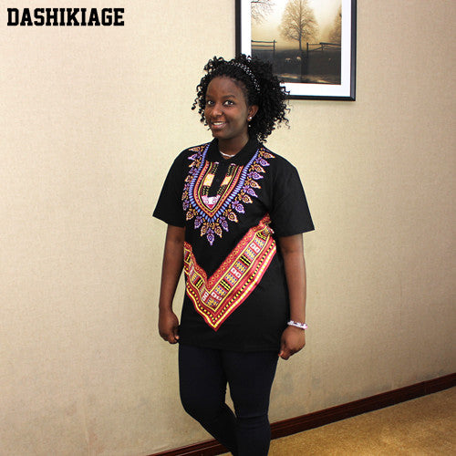 dd43fbaacf1 Dashikiage African Tribal Shirt Dashiki Print Men Black Succinct Hippie Top  Blouse Clothing. Hover to zoom