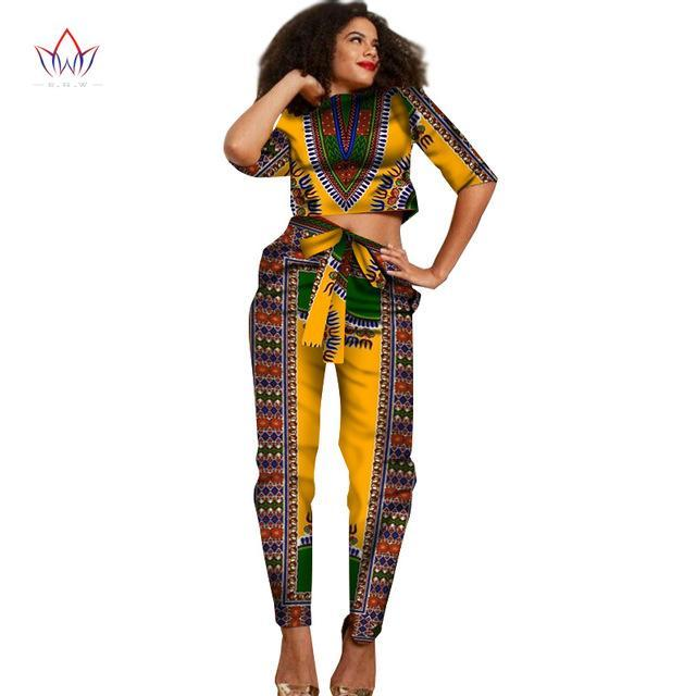 2017 New African Clothes Half Sleeve Crop Tops 2 Piece Set Women Clothing Long Pants African Print Pants Women 6XL BRW WY1374