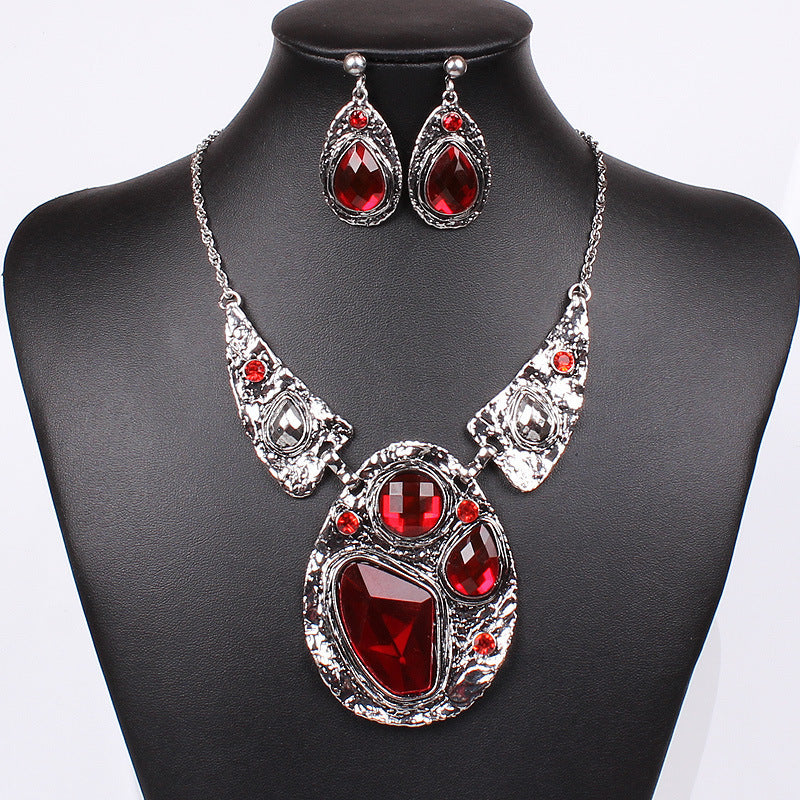 Silver Plated Red Jewelry Sets Fashion Crytal Jewelry Set Pendants Geometric Statement Necklace Earrings for Women Duftgold
