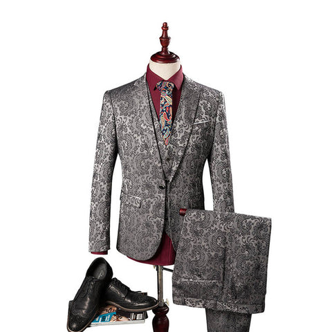 3 piece Men's Silver Suits Luxury Jacquard Formal Dress High Quality men wedding Men suits tuxedos Jacket+Pants+Vest Plus Size