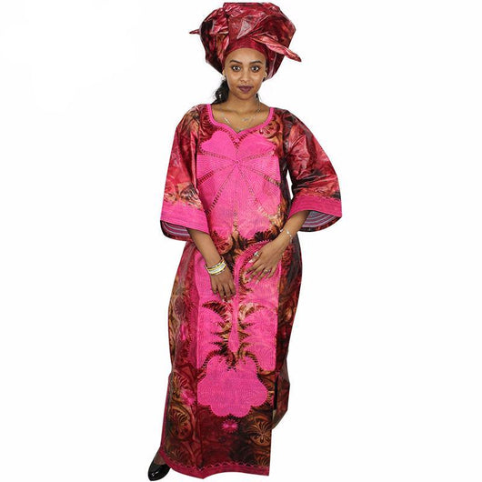 African Long Dress with Scarf Sets - Owame