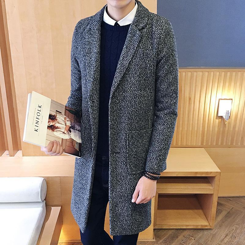 2017 male winter stand collar single breasted jacket slim overcoat men's solid color thick casual blazer big size