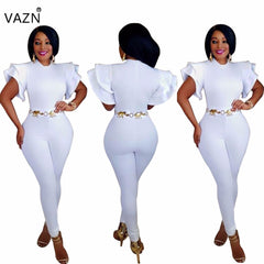 a6887e946e J7438K 2017 High quality slim temperate fashion bodycon jumpsuit short  sleeve summer jumpsuit solid white full
