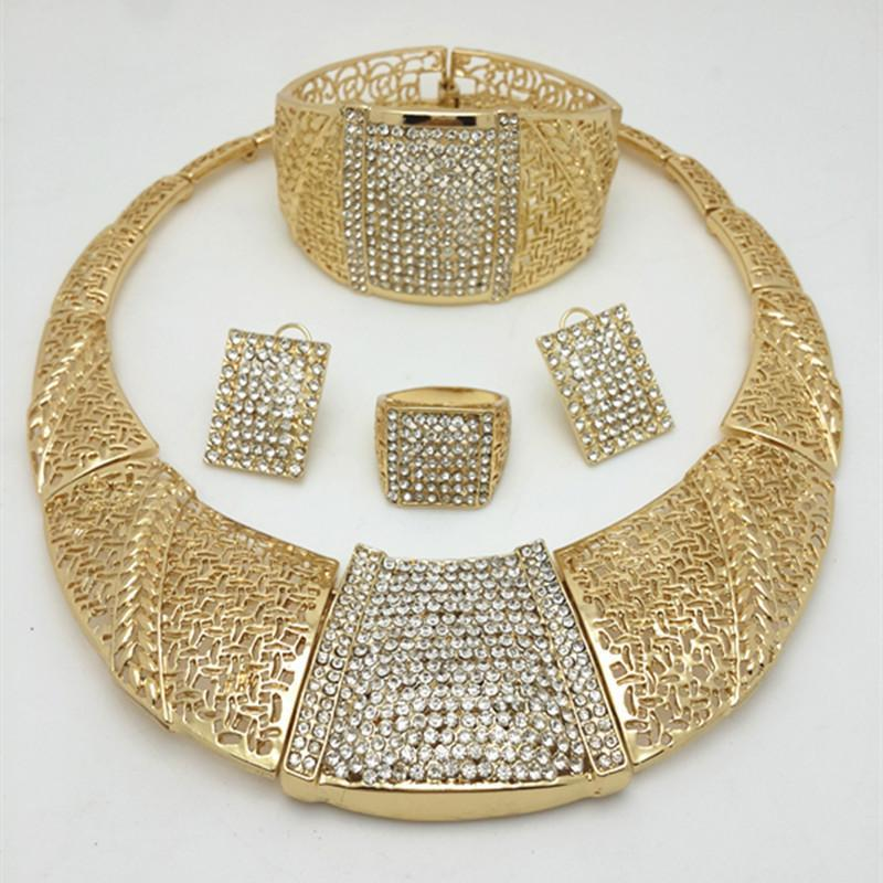 2016 Fashion Wedding African Beads Jewelry Sets Dubai  Gold Color Jewelry Sets Costume Romantic new Design