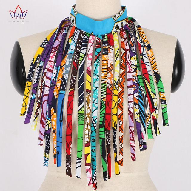2017 African Fabric Necklace Fake Collar for Women African Katoen Ketting Ankara Handmade Jewelry Necklace with Tassels WYA26