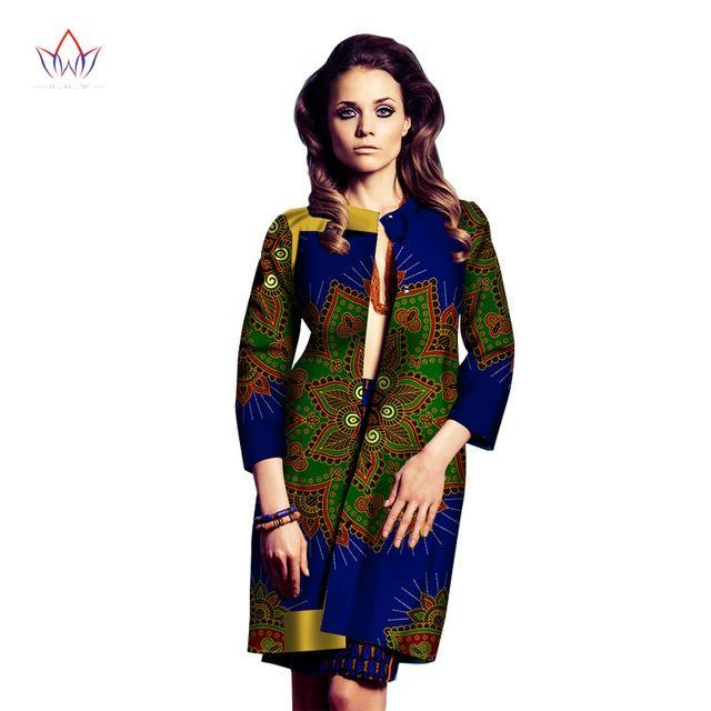 2017 African Clothes for Women Long Sleeve Women Coats Trench Coat for Women Denim Trench Dashiki Ankara Fashios Clothing WY1343