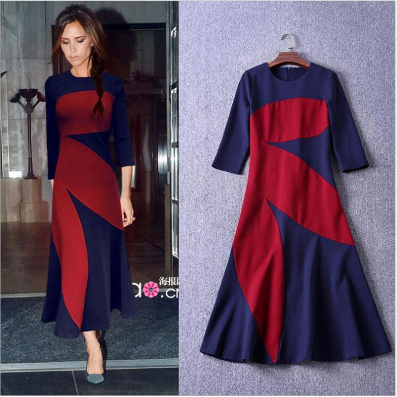2017 Spring New Arrived Victoria Beckham Color Splicing O-Neck Three Quarter Sleeves Ankle-Length Cotton Dress Women Elegant