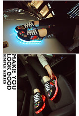 Summer Flash Led shoes,fluorescent kids usb recharge luminous sneakers Unisex led light shoes 0w88