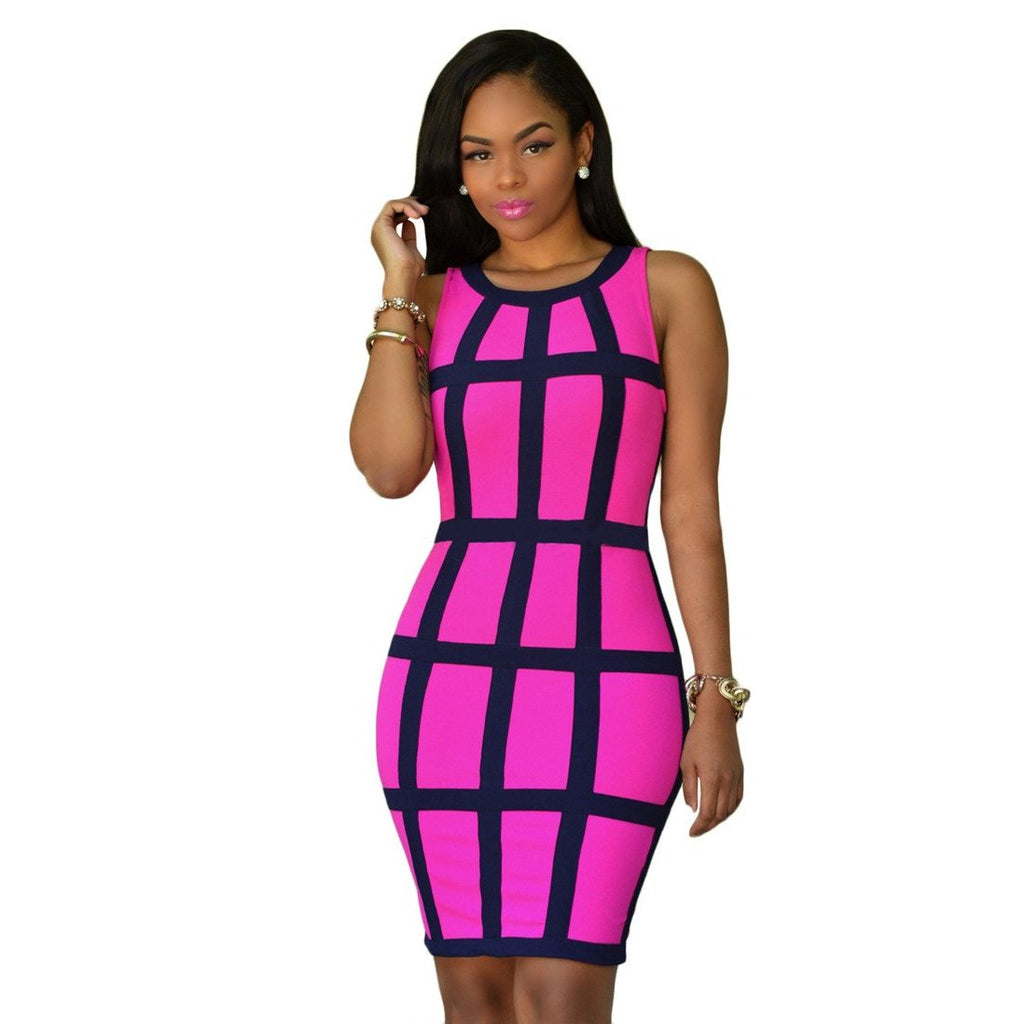 2017 Brand Summer Bandage Dress Women Tunic Sexy Plaid Print  Bodycon Office Pencil Midi Party Dresses Vestidos Robe Femme Ete