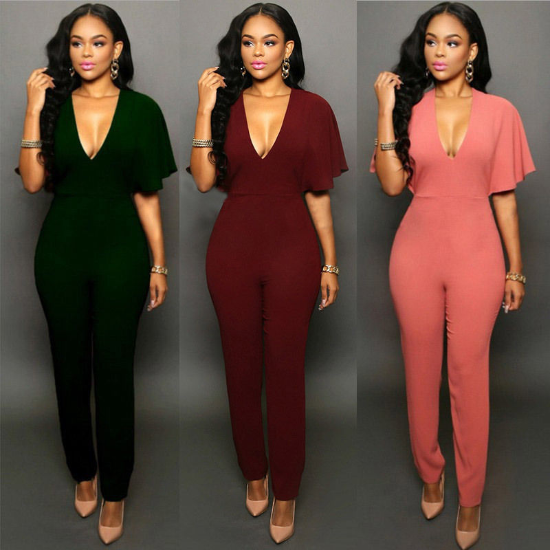 Women V-neck Jumpsuits Party  Slim  Fit Solid Play-suits Romper Trousers
