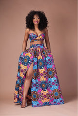 Women Wrap Top+ Slit Skirt 2 Pieces Set Indiana African Digital Print Skirts A Line Long Skirt Suits-0wm12