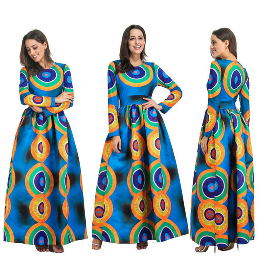 Dashiki African Dresses For Women, African Ankara Bazin Print Dress,African Traditional Custom Clothes - Owame