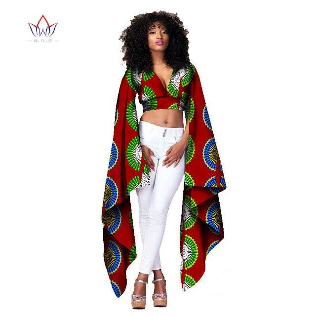 2017 African Bazin Riche Clothes Sexy Women Short Tops t Shirt for Women Crop Top Long Sleeve Fashion Designs Clothes 6XL WY1154