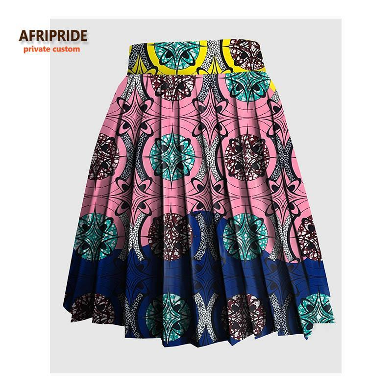 2017 AFRIPRIDE Private Custom women summer skirt made by pure cotton knee-length colorful fashional sexy pleated skirt A722707